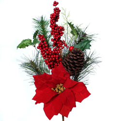 Decorative twig with poinsettia